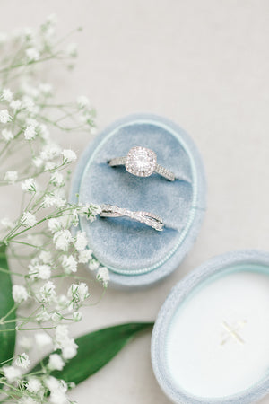 Dusty Blue Velvet Oval Ring Box