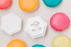 White Velvet Hexagon Ring Box
