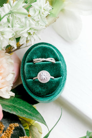 Emerald Green Velvet Oval Ring Box