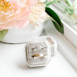 Stone Grey Velvet Square Octagon Ring Box