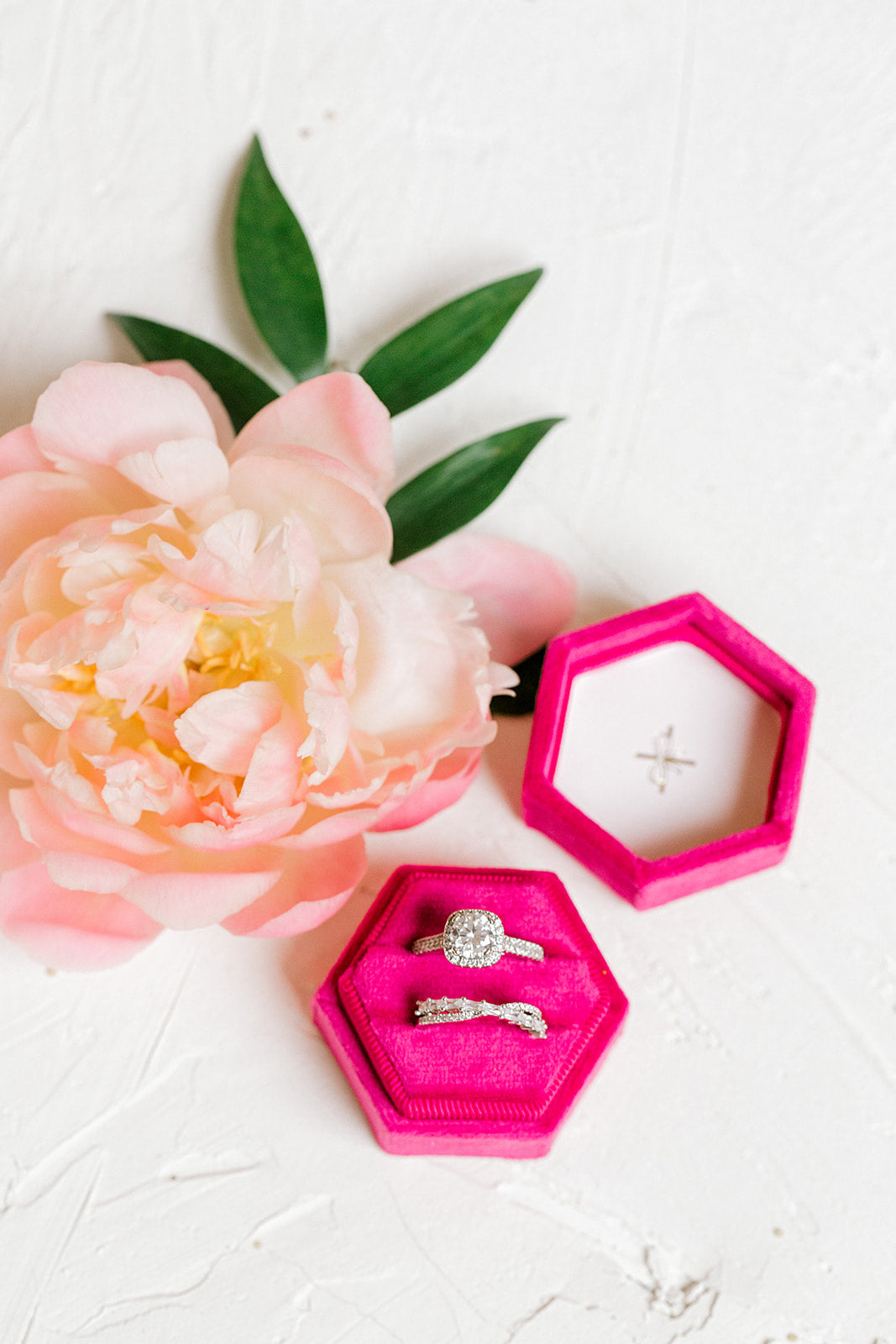 Fucshia Pink Velvet Hexagon Ring Box