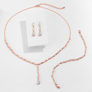 Cotine Diamond Earrings, Necklace, and Bracelet Set