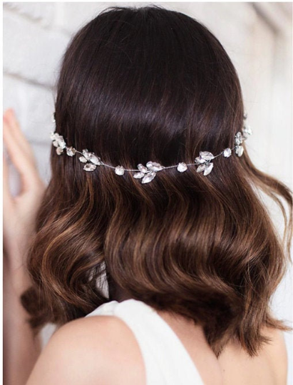 Flora Crystal Diamond Rhinestone Bridal Headband