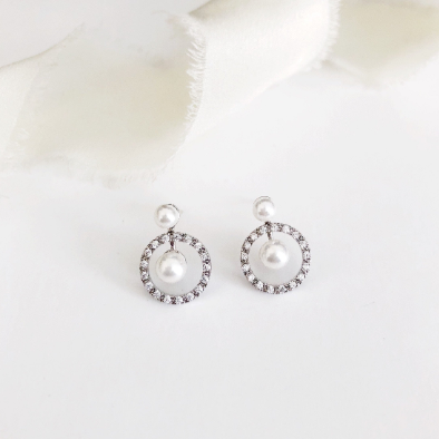 Hailey Pearl Silver Stud Wedding Earrings