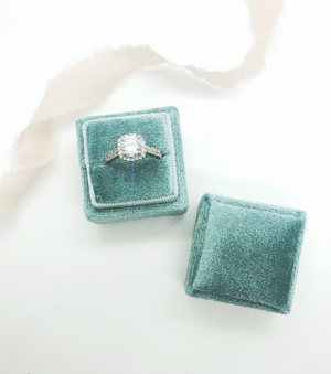Seafoam Velvet Square Ring Box - Clearance