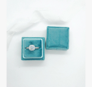 Ocean Blue Velvet Square Ring Box - Clearance