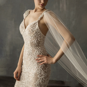 Celine Diamond Tulle Cathedral Bridal Cape Veil