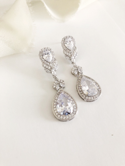 Constance Drop Diamond Wedding Earrings