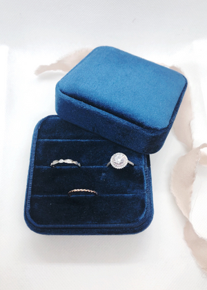 Navy Blue Large 3 Slit Ring Earring Case