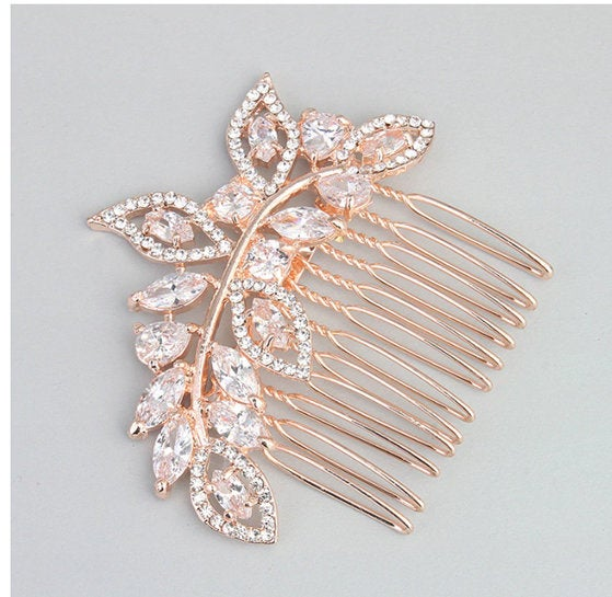 Riley Rose Gold Diamond & Pearl Rhinestone Bridal Hair Comb