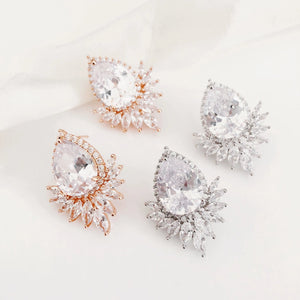 Priscilla Statement Diamond Stud Wedding Earrings