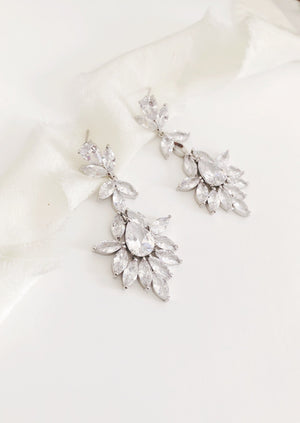 Harriett Silver Chandelier Diamond Statement Wedding Earrings