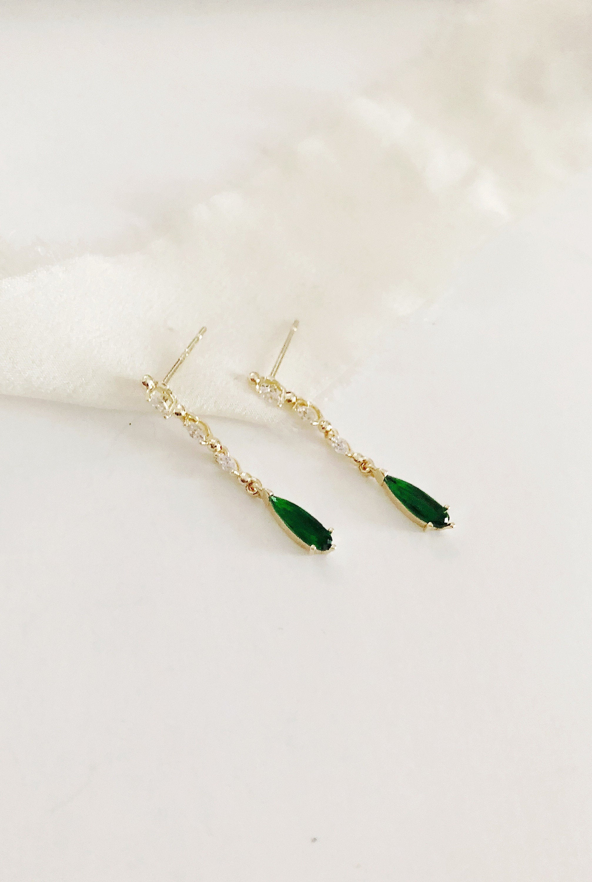 Claire Emerald Green Diamond Drop Wedding Earrings