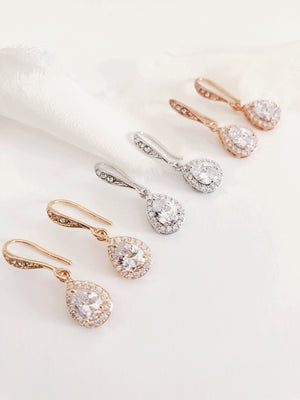 Lindi Diamond Teardrop Wedding Earrings