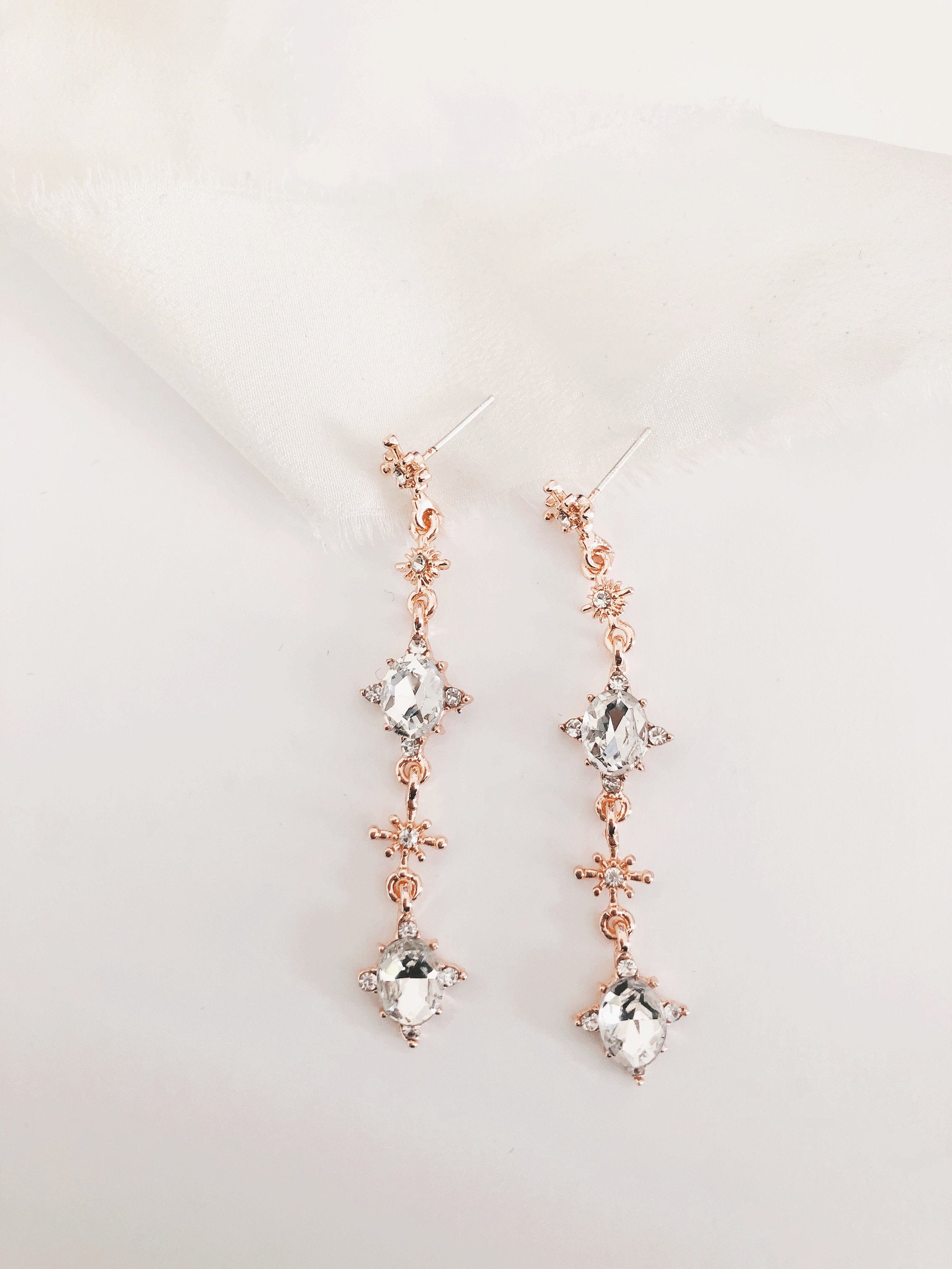Lilah Rose Gold Diamond Wedding Earrings