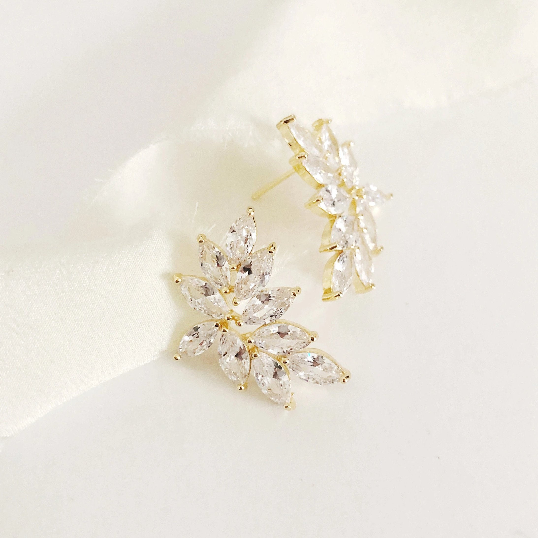 Kelly Diamond Stud Leaf Wedding Earrings