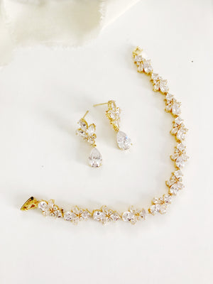 Flora Gold Diamond Earrings and Bracelet Set