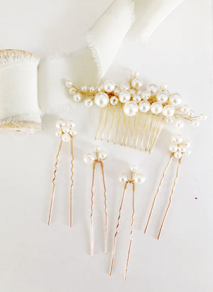 Gold Pearl Bridal Hairpiece