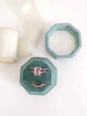 Sage Green Velvet Round Octagon Ring Box