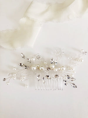 Kristi Crystal Diamond and Pearl Bridal Hair comb