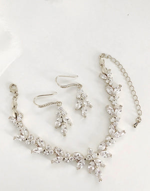 Ellen Silver Diamond Earrings and Bracelet Set