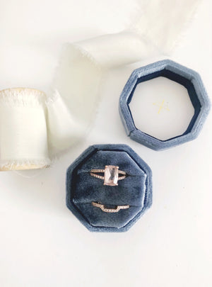 Marine French Blue Velvet Round Octagon Ring Box