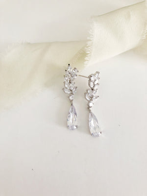 Jasmine Silver Diamond Drop Earrings