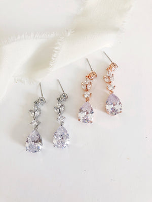 Alina Drop Diamond Wedding Earrings