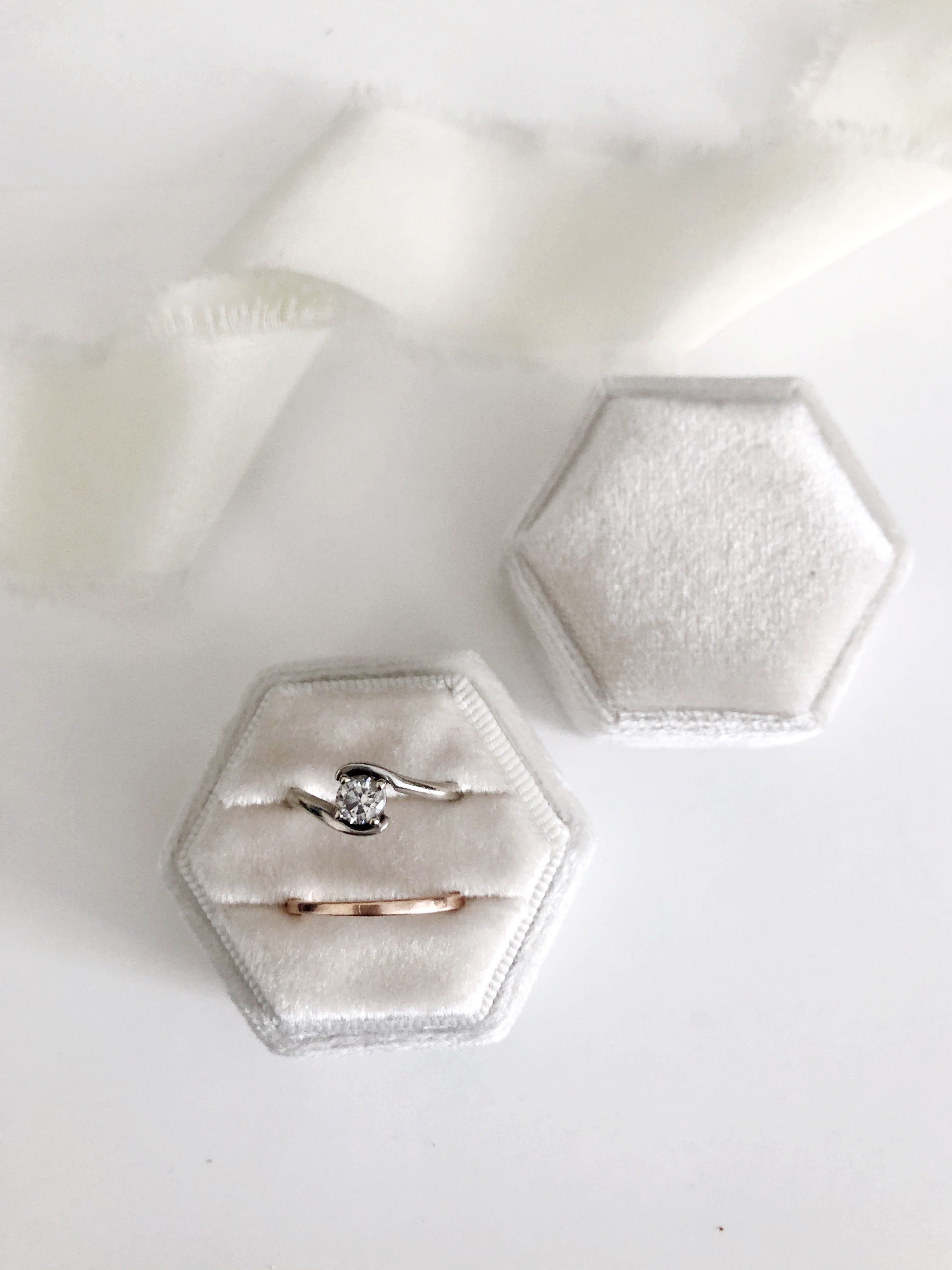 Ivory Velvet Hexagon Ring Box