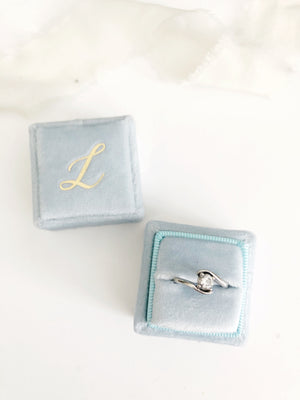 L Ice Blue Velvet Square Ring Box One-Off