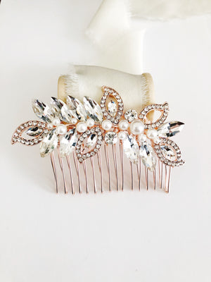 Riley Rose Gold Crystal Diamond Rhinestone Bridal Hair Comb