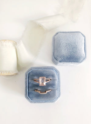 Dusty Blue Velvet Square Octagon Ring Box