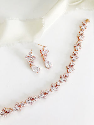 Flora Rose Gold Diamond Earrings and Bracelet Set