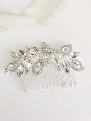 Riley Silver Diamond & Pearl Rhinestone Bridal Hair Comb