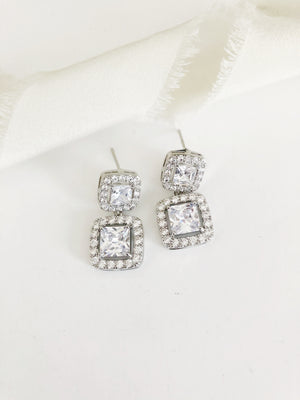 Kennedy Emerald Cut CZ Diamond Earrings