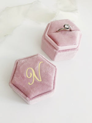 N Blush Pink Hexagon Ring Box One-Off