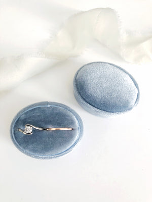Dusty Blue Velvet Horizontal Oval Ring Box