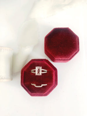 Burgundy Red Velvet Round Octagon Ring Box
