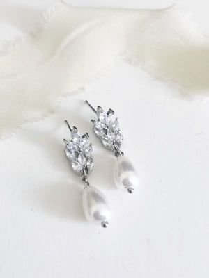 Gianna Silver pearl drop earrings
