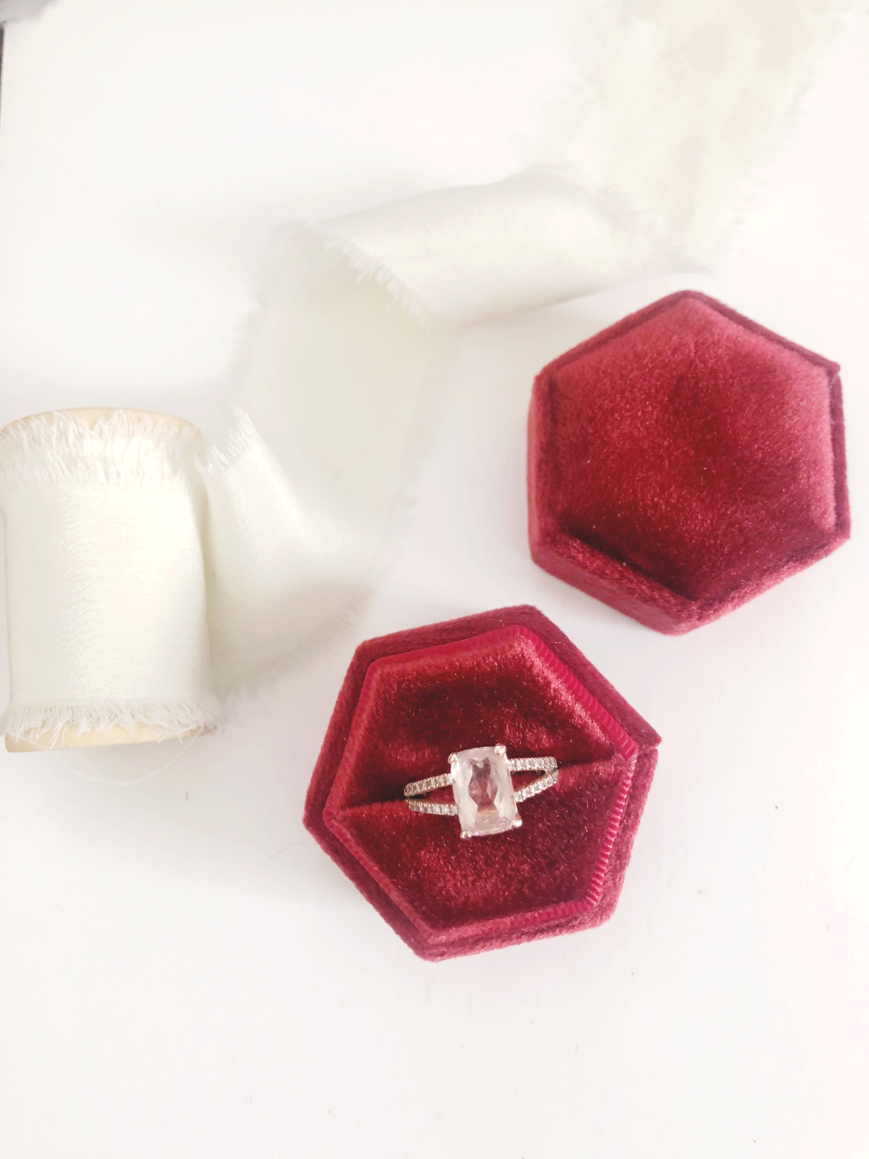 Burgundy Red Velvet Hexagon Ring Box