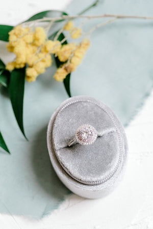 Silver Grey Velvet Oval Ring Box - Clearance