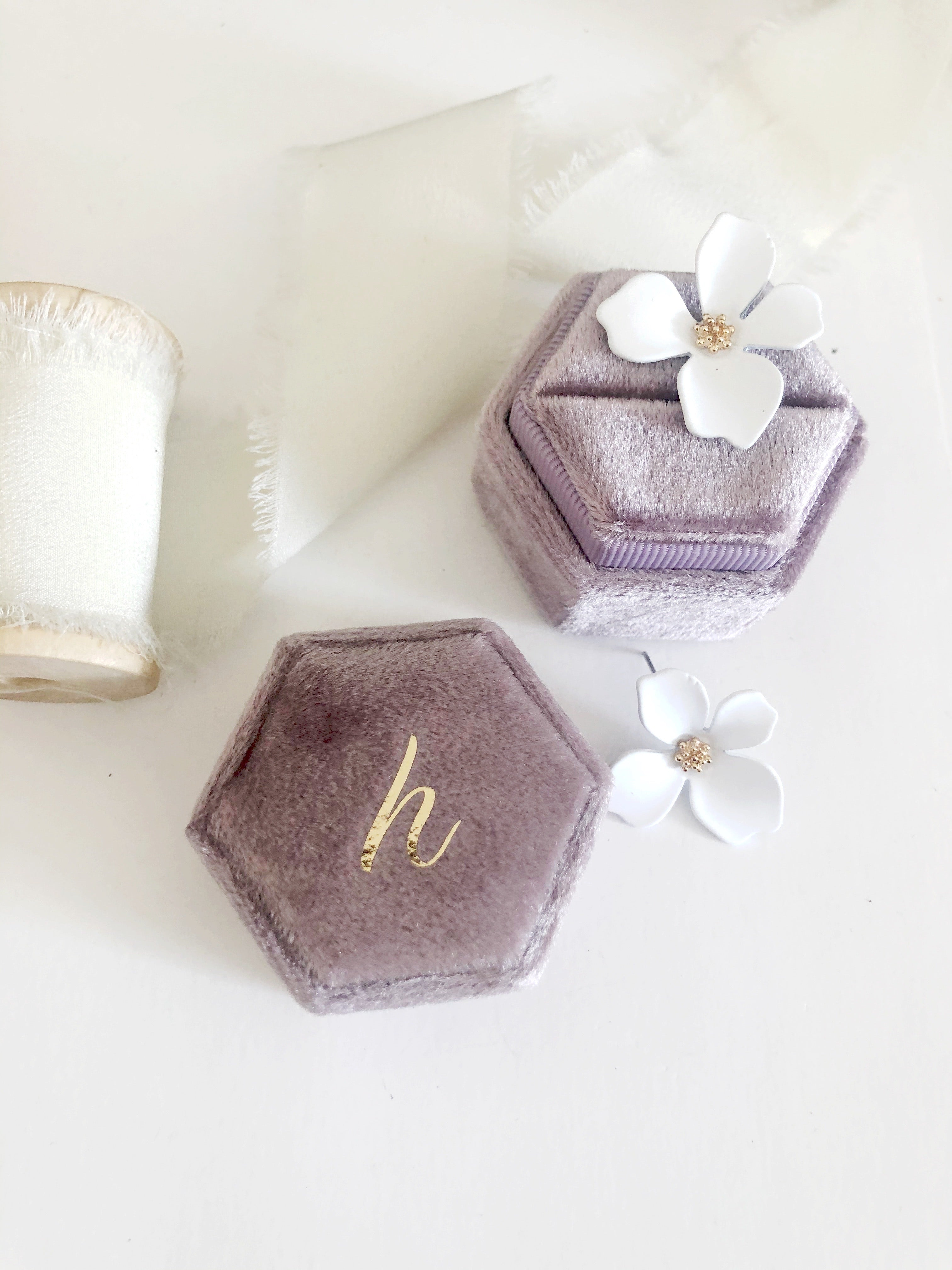 h Mauve Hexagon Ring Box One-Off