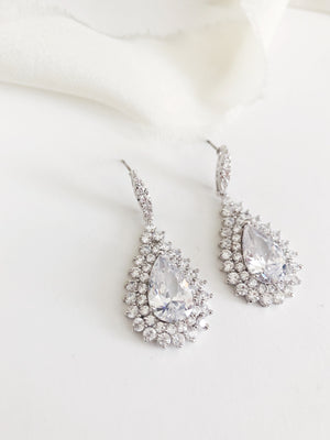 Monique Silver Statement Diamond Wedding Earrings