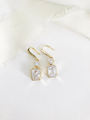 Zoe Square Emerald Diamond Drop Earrings