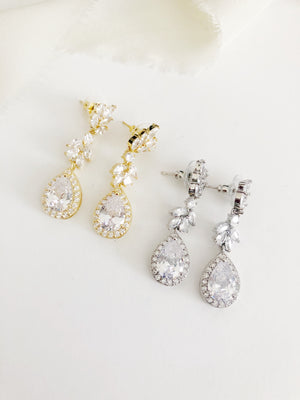 Linelle Gold Drop Diamond Wedding Earrings