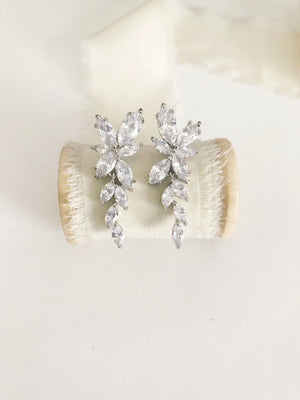Janelle Diamond Leaves Drop Wedding Earrings