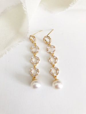 Monet Gold Pearl Drop Wedding Earrings