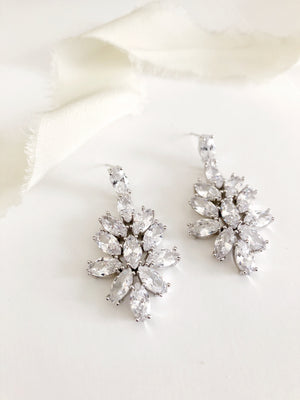 Heather Silver Chandelier Diamond Statement Wedding Earrings