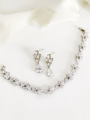 Flora Silver Diamond Earrings and Bracelet Set