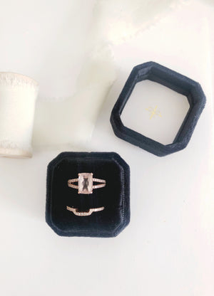 Black Velvet Square Octagon Ring Box